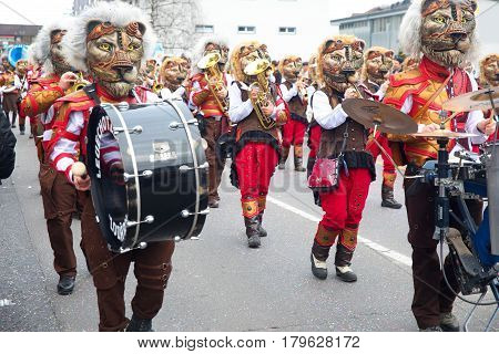Traditional Carnival Parade Of Carnival Masks In Luzern, Switzerland.