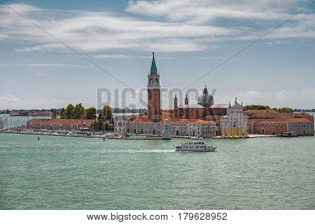 Venice Italy Channel Saint Marcus Ancient Building Dome Cathedral Tower Doges' Palace View from the Grand Canal