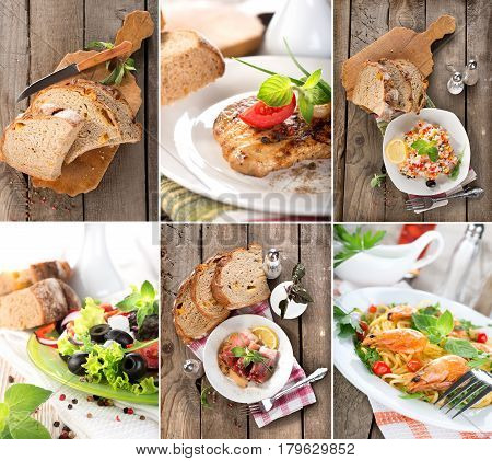 Collage of prepared dishes of meat and cereals