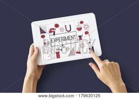 Illustration of biochemistry study scientific research on digital tablet poster