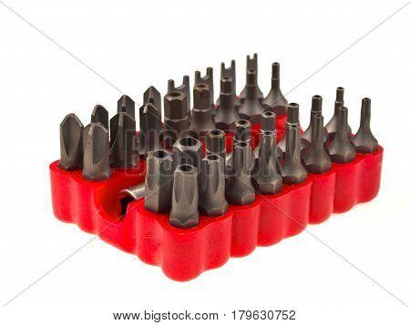Bit Set In Red Rubber Organizer