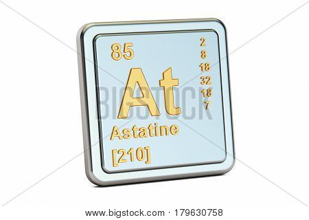 Astatine At chemical element sign. 3D rendering isolated on white background