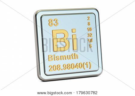 Bismuth Bi chemical element sign. 3D rendering isolated on white background
