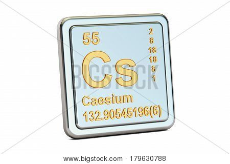 Caesium Cs chemical element sign. 3D rendering isolated on white background