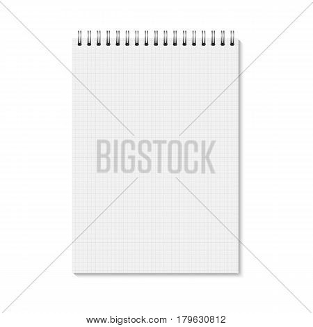 Vector realistic closed notebook. Vertical blank copybook with metallic silver spiral. Template (mock up) of organizer or diary isolated. Cell lined notebook