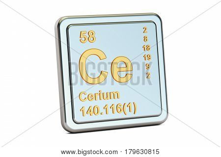 Cerium Ce chemical element sign. 3D rendering isolated on white background