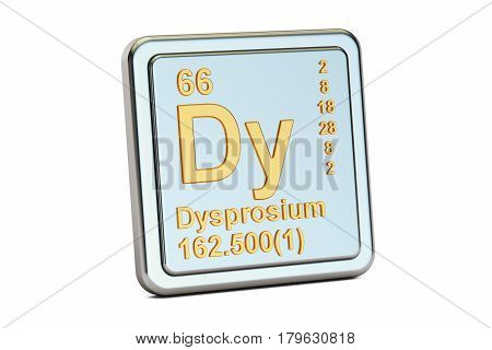 Dysprosium Dy chemical element sign. 3D rendering isolated on white background