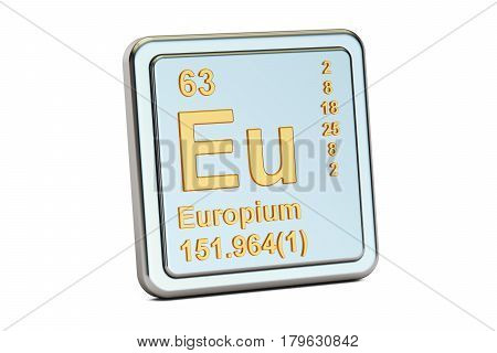 Europium Eu chemical element sign. 3D rendering isolated on white background