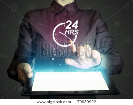Image of a girl with tablet pc in her hands and 24-hour support service icon. Concept of 24-hour support.