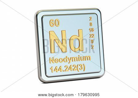 Neodymium Nd chemical element sign. 3D rendering isolated on white background