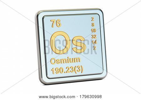 Osmium Os chemical element sign. 3D rendering isolated on white background