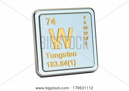 Tungsten W wolfram chemical element sign. 3D rendering isolated on white background