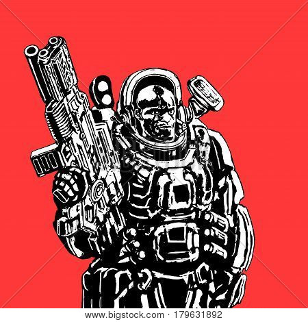 Heavy space marine in colorful suit with large plasma gun. Science fiction original character the soldier of the future. Vector illustration. Red background.