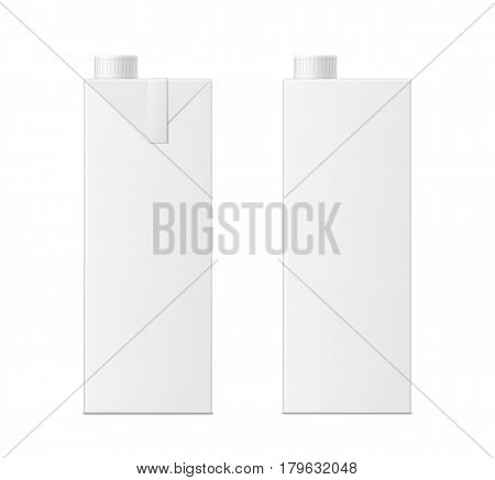 Vector 3d mock up of milk or juice box on white background. Realistic carton one liter package with cap isolated. Template for your design. Front view.
