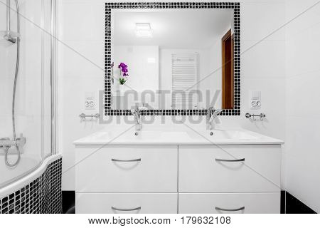 White Bathroom With Basin Cabinet