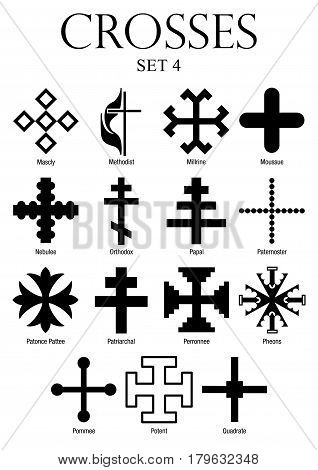 Set of crosses with names on white background. Size A4 - Vector image