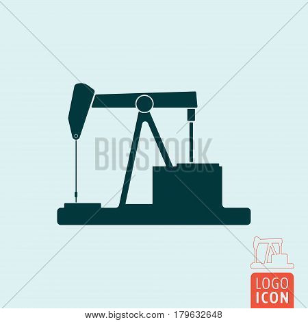 Pumpjack icon. Retro oil pump symbol. Vector illustration