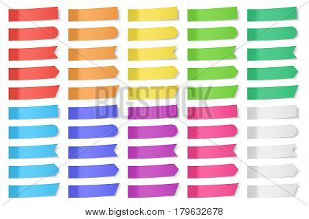 Set of vector paper stickers on white background. Colored realistic sticky notes isolated. Big collection of red, orange, yellow, green, blue, purple and gray stickers.