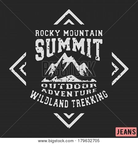 T-shirt print design. Mountains vintage stamp. Printing and badge applique label t-shirts jeans casual wear. Vector illustration.