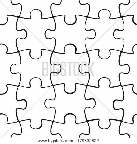 Puzzle jigsaw seamless pattern. Board game square template. Vector illustration.