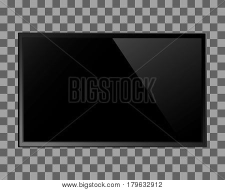 TV blank screen. Modern lcd led display or computer monitor. Vector illustration.