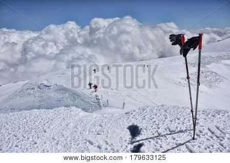 View from the top of Elbrus and some climbers.