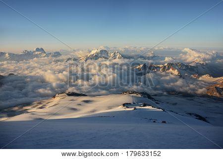 Beautiful panoramic view from Elbrus at dawn.