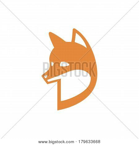 Fox. Simple vector illustration red fox in flat style, eps10. Fox red head isolated on white background.