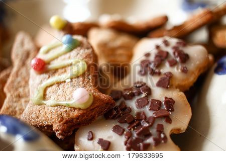 Colorful Decorated Gingerbreads. Many Gingerbread Cookies Close Up Macro Detailed Composition