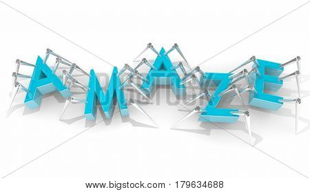 Amaze Surprise Letters Word Insects Bugs Walking 3d Illustration