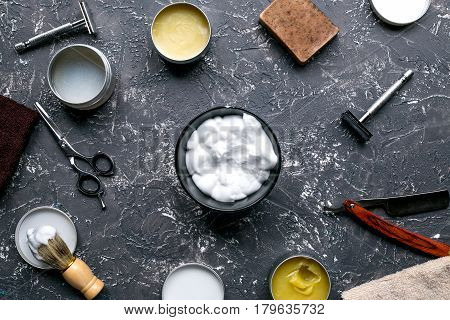 barbershop for men with tools for shaving on gray table background top view