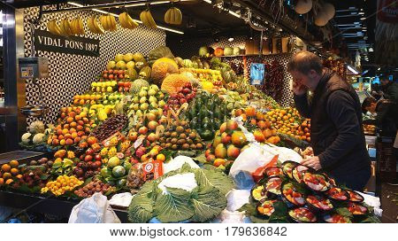 Fruit Store At La Boqueria Market