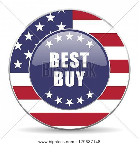 Best buy usa design web american round internet icon with shadow on white background.