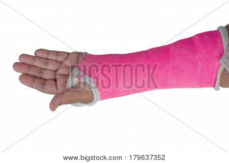 arm splint in plaster cast isolated on white background
