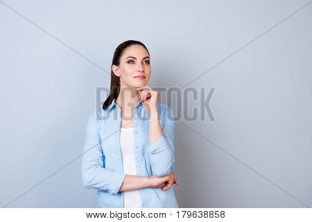 Portrait Of Attractive Minded Happy Woman Dreaming About Smth  Isolated Gray Background