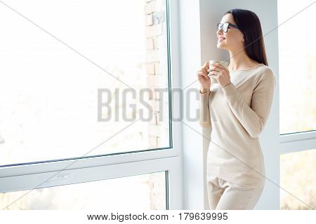 Have A Nice Day! Young Smart Successful Smiling Woman In Glasses Having Break, Holding Cup And Drink