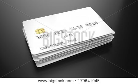 Stack of Blank white credit cards template on black background. 3d render