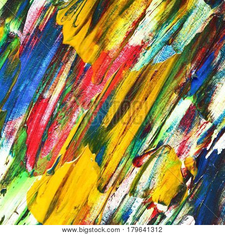 Variegated oil painting texture with brush strokes. Colorful abstract background