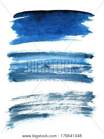 Set of different blue brush strokes isolated on the white background. Elements for your design
