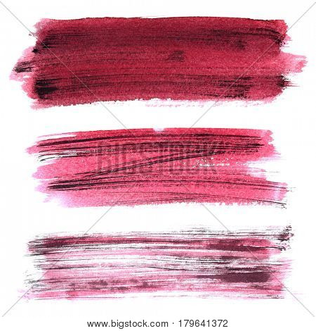 Set of dark red grunge brush strokes isolated on the white background. Elements for your design