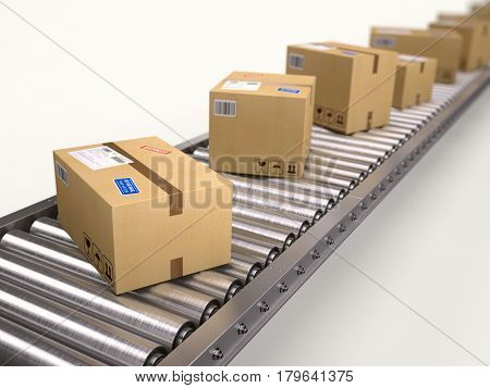 Packages and parcels delivery concept - cardboard boxes on conveyor. 3d render