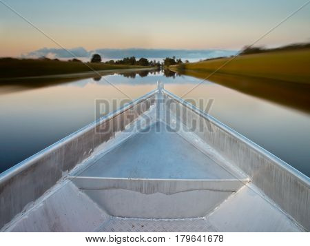 Bow Of A Rowing Boat In A Swamp