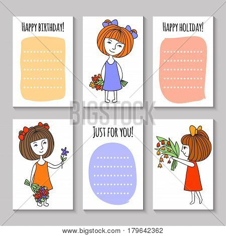 Print templates set. Happy birthday. Cute hand drawn Doodle colorful stylish birthday party, cards, brochures, invitations with cute girls and flowers.