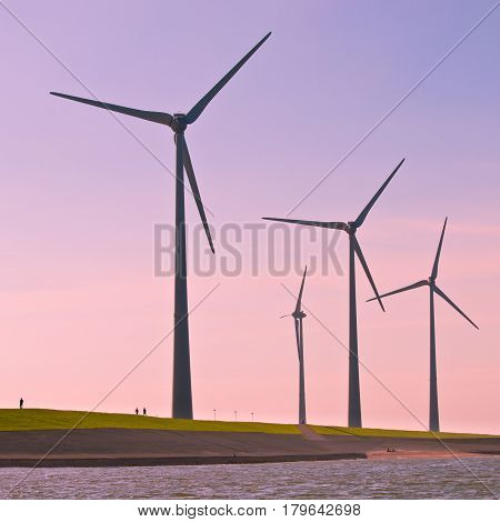 Wind Turbines Along The Sea Dike