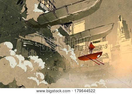 sci-fi scene of the man on with the flying vehicle floating in futuristic city, illustration painting