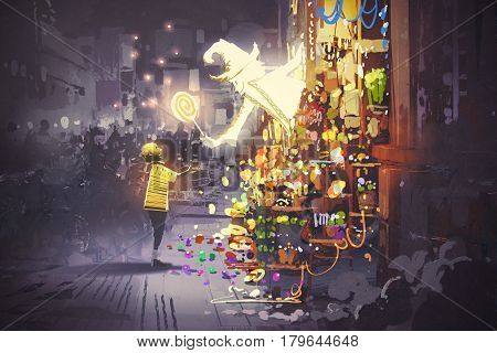 the white wizard giving a magic lollipop to little boy fantasy candy shop, illustration painting