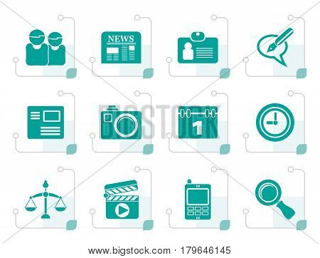 Stylized web site, computer and business icons - vector icon set