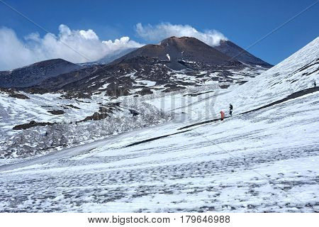 white smoke from Southeast Craters in winter Etna Park, Sicily