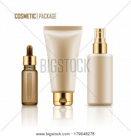 Set of realistic empty packages for skincare cosmetic with gold caps. Collection of blank template of container: plastic tube for cream, glass bottle for essence or serum, spray. Vector mockup.