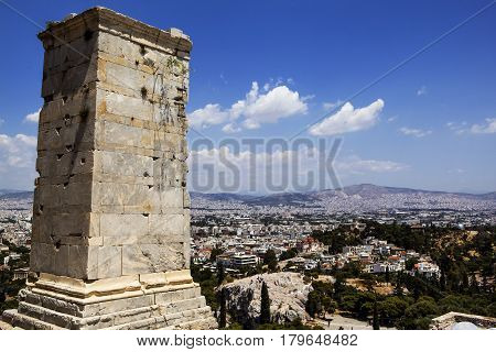 Detail Of Agrippa Tower Of The Acropolis Propylaea, Greece
